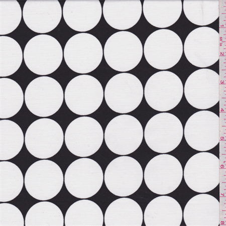 Black/White Polka Dot Satin Back Twill, Fabric Sold By the Yard