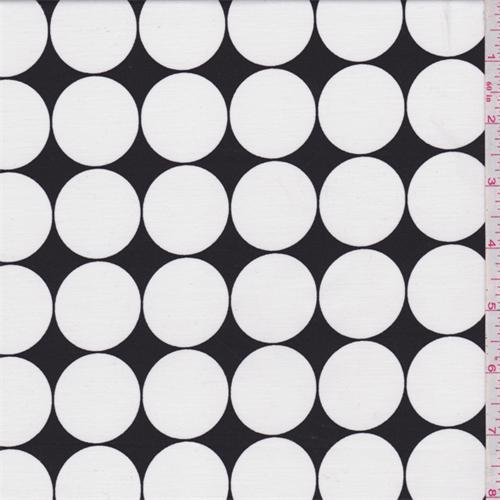 Black/White Polka Dot Satin Back Twill, Fabric By the Yard