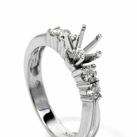 Mount Diamond Engagement Ring Setting (Diamond 14K White Gold Semi Mount Solitaire Engagement Ring)