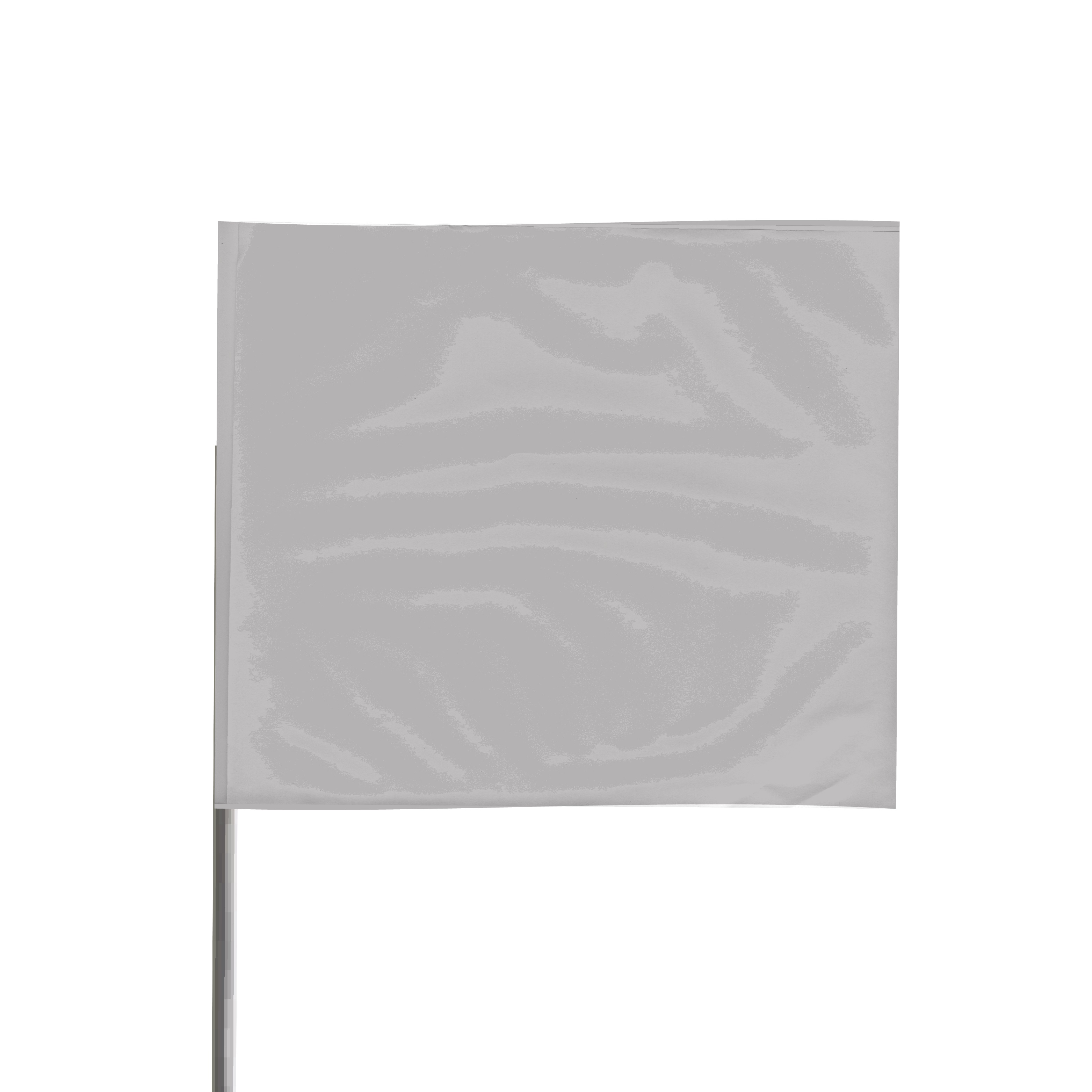 Presco Steel Wire Staff Marking Flags: 4 in. x 5 in. Flag / 21 in. Steel Wire (Silver) [1 Pack of 12 Flags]