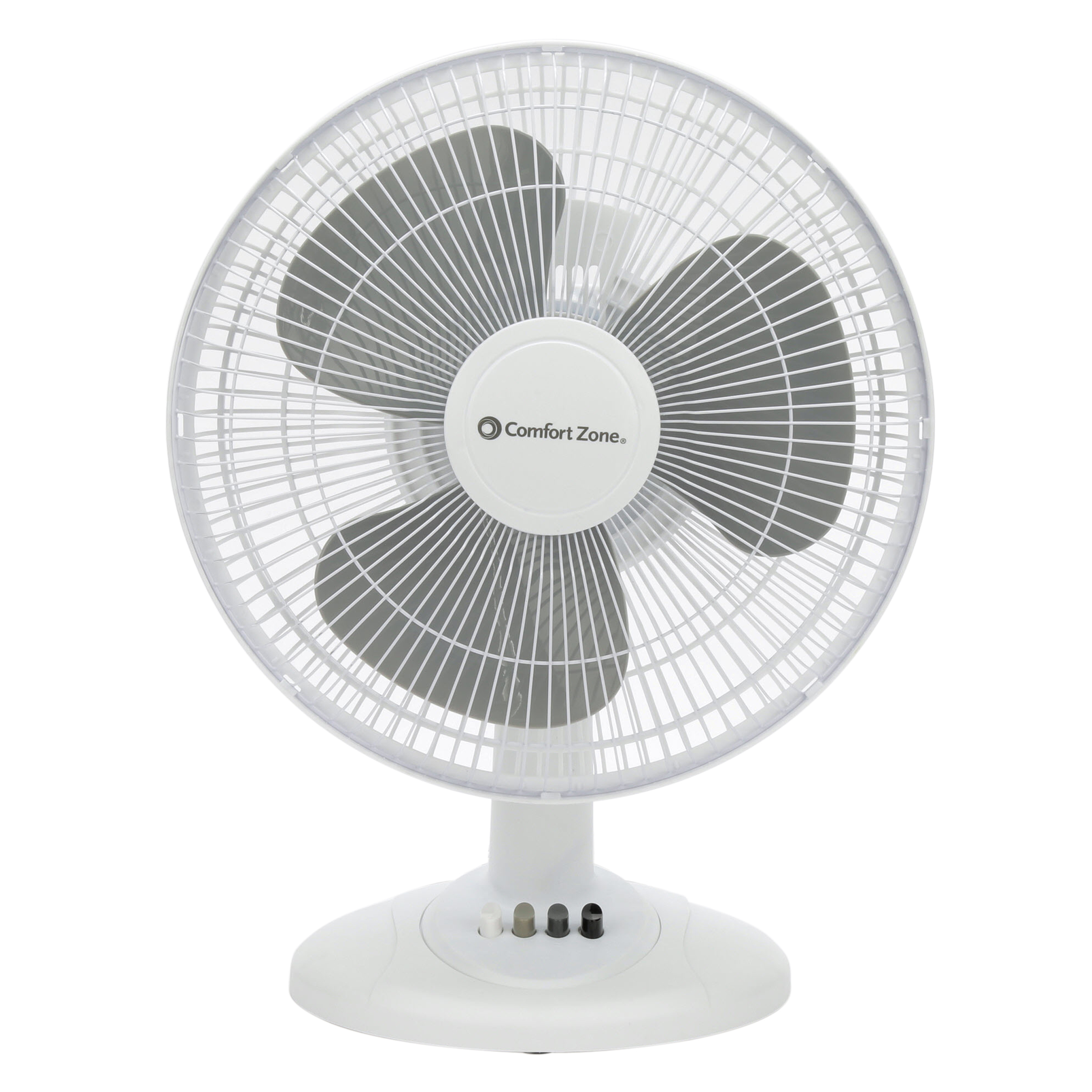 Comfort Zone 12'' Oscillating Table 3-Speed Fan, Model #CZ121, White