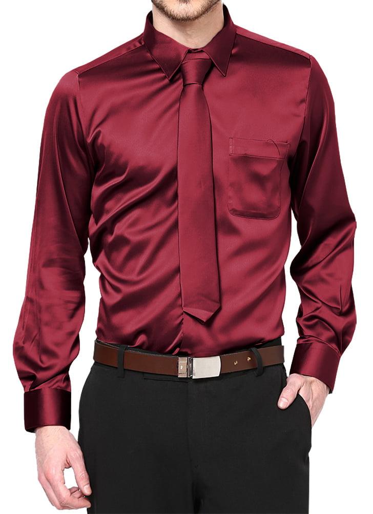Boys Satin Long Sleeve Dress Shirt