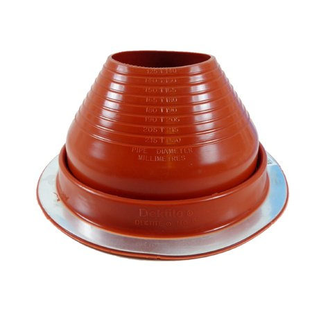 Dektite Round Base Metal Roofing Pipe Flashing Boot   6 Red High Temp Silicone Flexible Pipe Flashing Dektite  For Od Pipe Sizes 5     9      Metal Roof Jack Pipe Boot   Metal Roofing Pipe Flashing