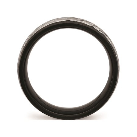 JbSP- Stainless Steel Brushed Black IP Grooved Ring - image 4 of 6
