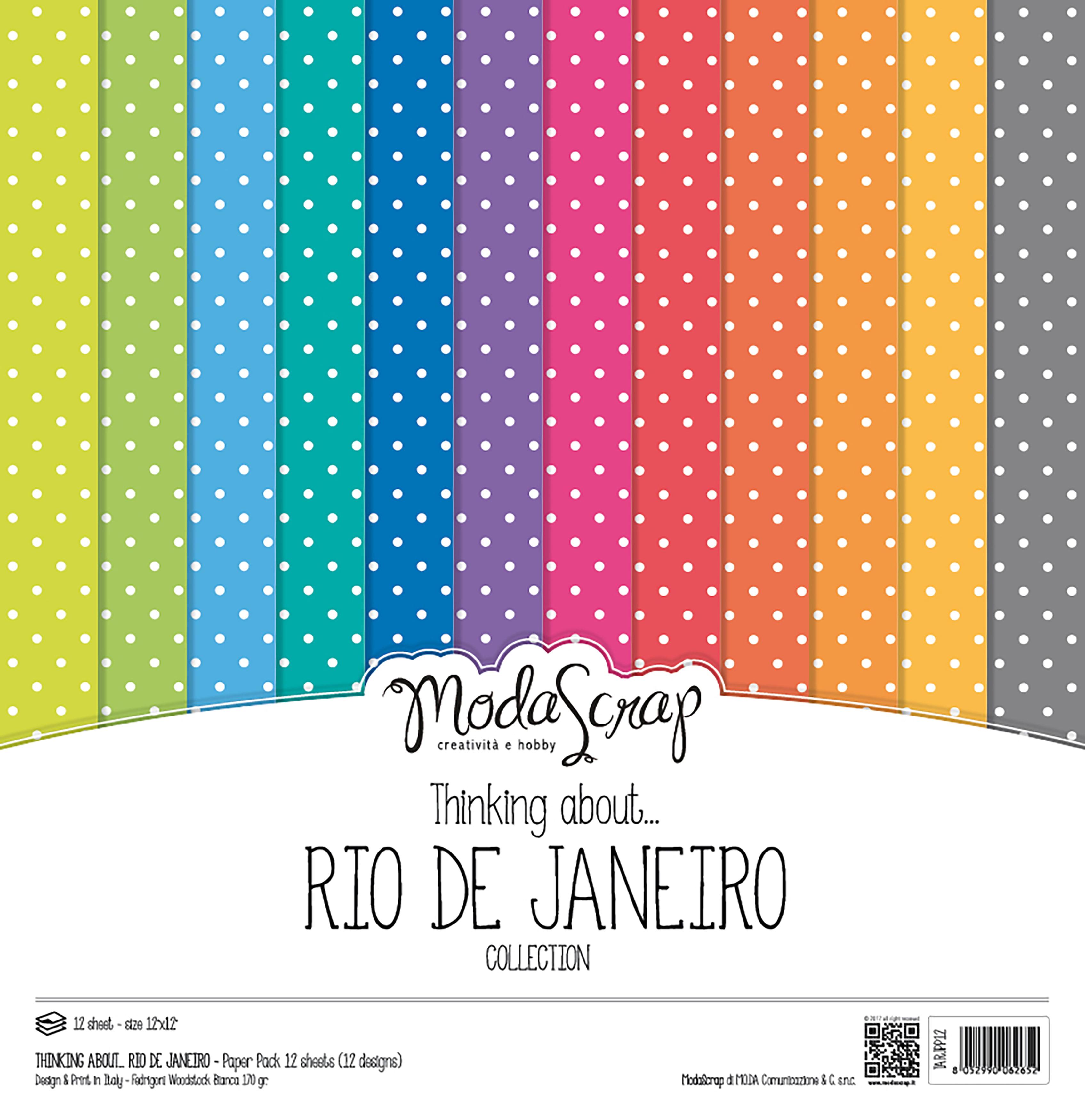 "Elizabeth Craft ModaScrap Paper Pack 12""X12"" 12/Pkg-Thinking About Rio De Janeiro"