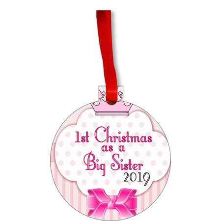 New Baby 1st Christmas as a Big Sister 2019 First Round Shaped Flat Hardboard Christmas Ornament Tree Decoration - Unique Modern Novelty Tree Décor Favors ()