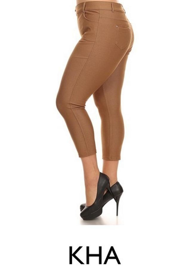 PLUS Women's Solid Cropped Pants