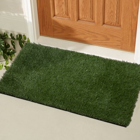 Ottomanson Garden Collection Indoor/Outdoor Artificial Solid Grass Design Doormat Green Turf, 20