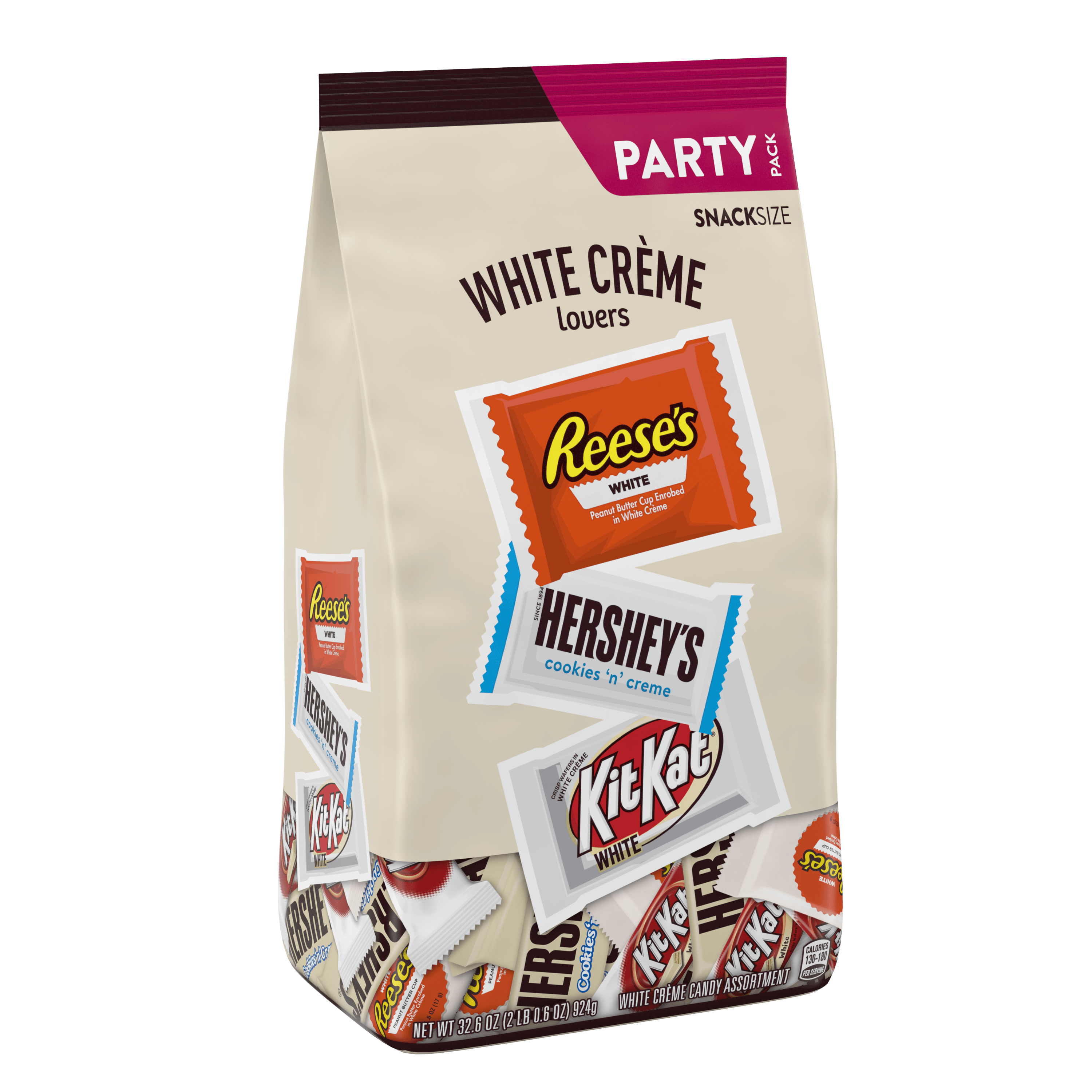 HERSHEY'S, REESE'S & KIT KAT, Assorted White Crème Snack Size Candy, Bulk Candy, 32.6 oz, Bag, Approx. 59 Pieces