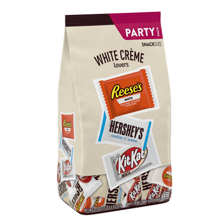 HERSHEYS, REESES & KIT KAT, Assorted White Crème Snack Size Candy, Bulk Candy, 32.6 oz, Bag, Approx. 59 Pieces