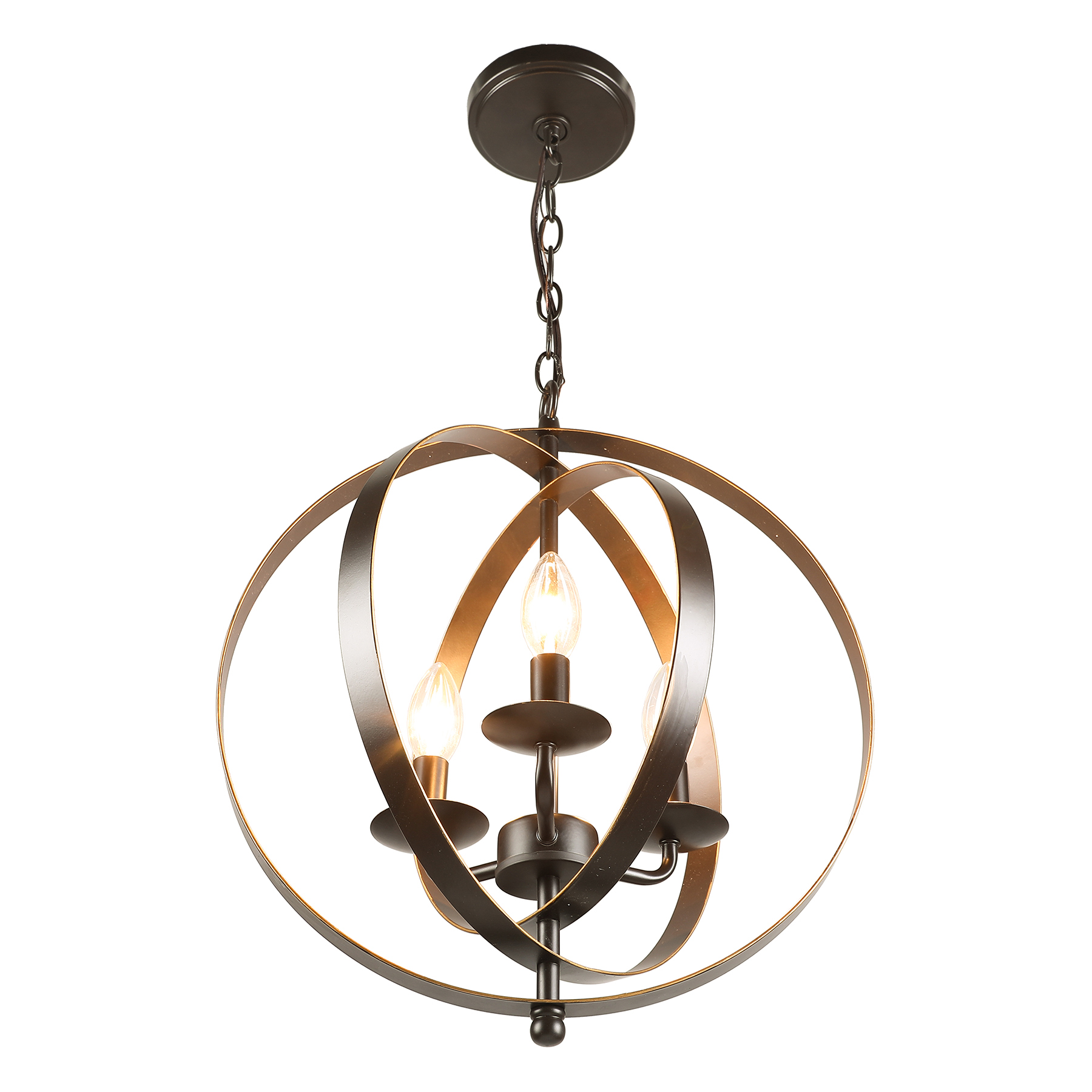 3 Light Orb Chandelier Globe Pendant Antique Bronze Finished