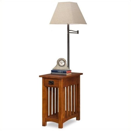 Bowery Hill Mission Chairside Solid Wood Lamp Table Medium in Oak Mission Oak Wide Table