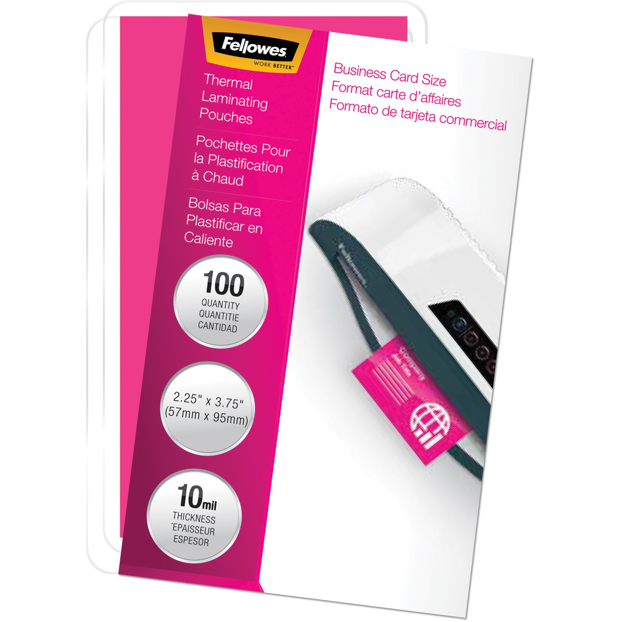 Fellowes, FEL52058, Pretrimmed Glossy Business Card Pouches, 100 / Pack, Clear