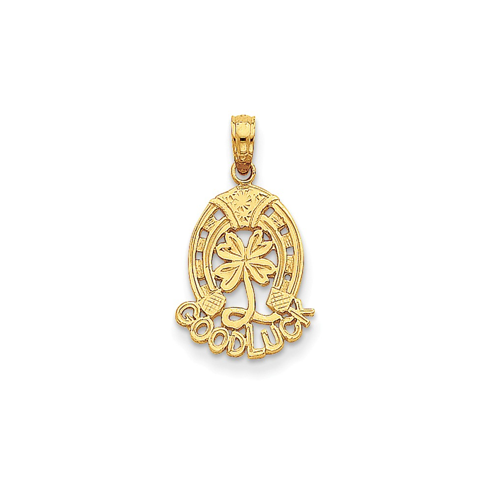 14k Yellow Gold Good Luck w/ Horseshoe and Clover Pendant