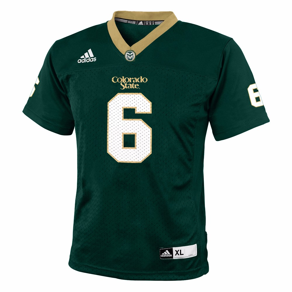 Colorado State Rams NCAA Adidas Green Official Home #6 Replica Football Jersey For Youth