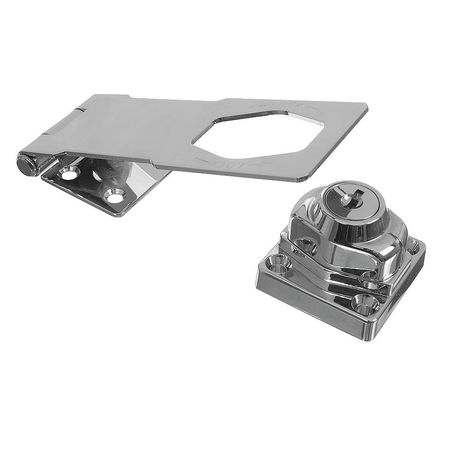 4FWE8 Hasp, Steel with Die-Cast Lock, Chrome by National Manufacturing