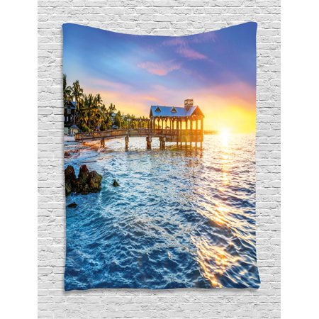 United States Tapestry  Pier At Beach In Key West Florida Usa Tropical Summer Paradise  Wall Hanging For Bedroom Living Room Dorm Decor  60W X 80L Inches  Light Blue Yellow Green  By Ambesonne