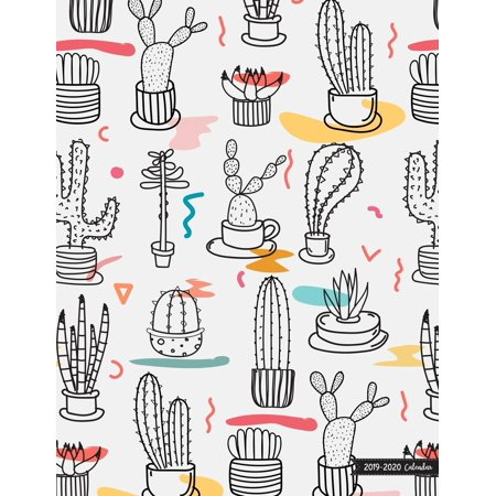2019-2020 Calendar: 2019 - 2020 Two Year Calendar Planner Daily Weekly and Monthly Planners for Academic Agenda Schedule Organizer Logbook and Journal Notebook Cactus Cover (Paperback)