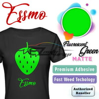 "ESSMO Fluorescent Green Matte Solid Heat Transfer Vinyl HTV Sheet T-Shirt 20"" Wide Iron On Heat Press 20""x12"""