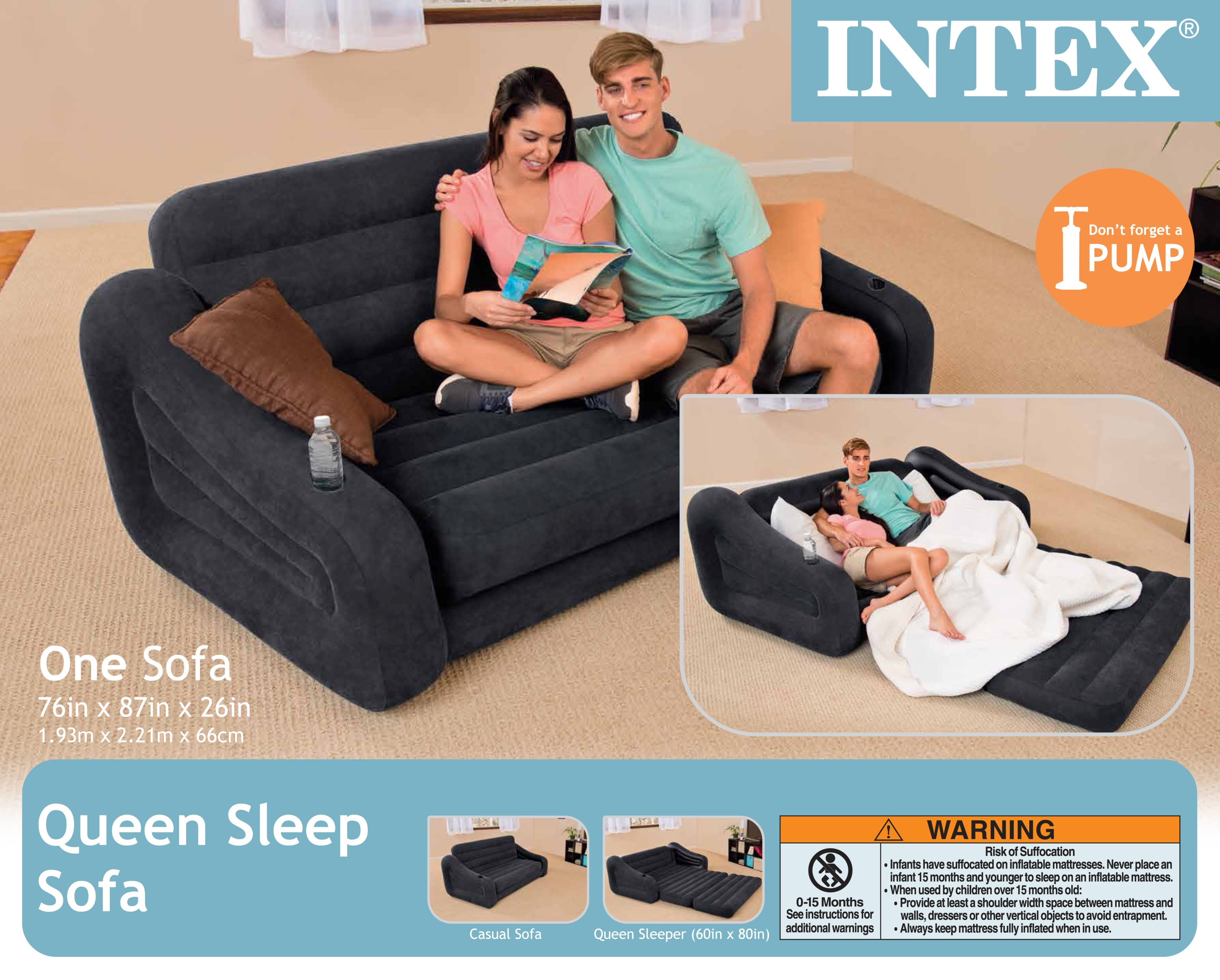 Intex Inflatable Queen Size Pull Out Sofa Couch Bed, Dark Gray
