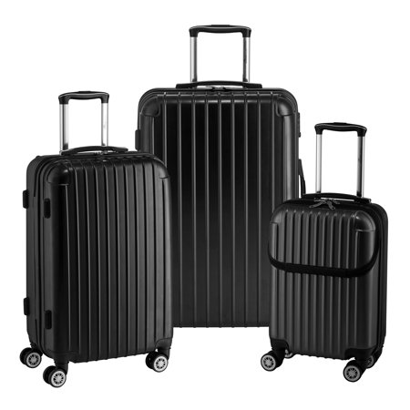Euro Style Collection 3-piece Hardside Spinner Luggage Set-Black Black Luggage Collection