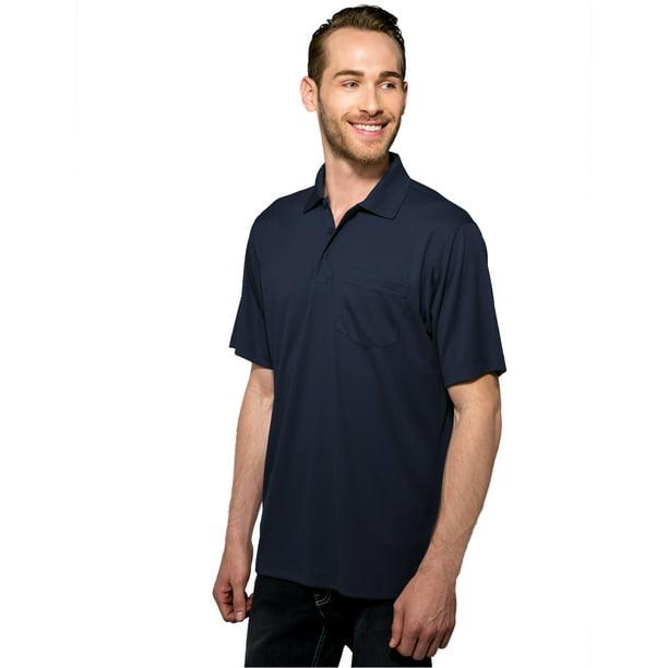 Tri-Mountain Men's Big And Tall Rib Collar Pocket Polo Shirt