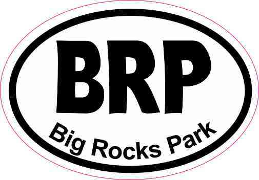 3inx2in oval brp big rocks park sticker luggage decal car window stickers