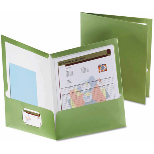 Oxford 2-Pocket Laminated Folder, 100-Sheet Capacity, Metallic Green