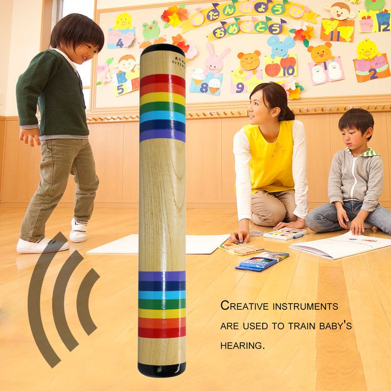 SH18C Children Baby Kids Solid Wood Colorful Sand Sound Maker Hand