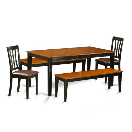 August Grove Pillar 5 Piece Extendable Solid Wood Dining Set