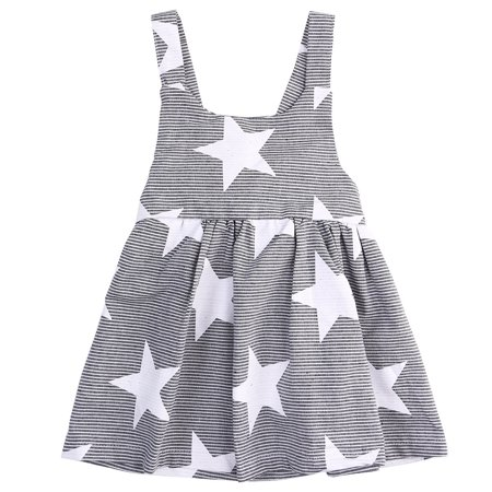 2-7Y Toddler Baby Kids Girls Beach Sundress Stars Pageant Summer Cotton Casual Dresses  - image 3 de 5