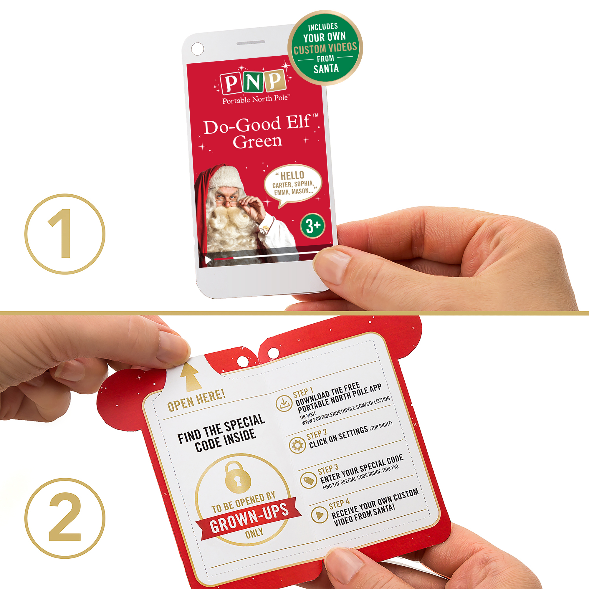Portable north pole santa letter kit with personalized video.