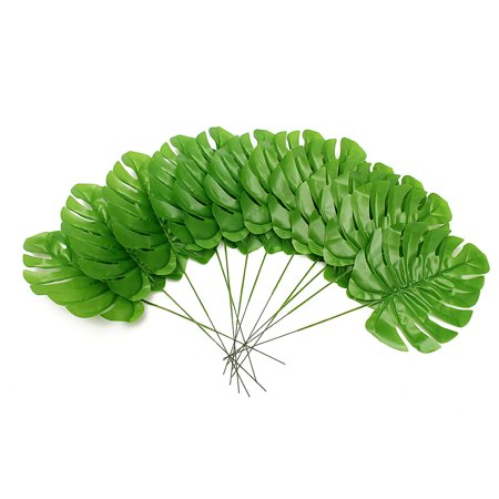 12Pcs Artificial Turtle Leaf Palm Fern Plant Tree Branch Green Wedding Decor Bush](Party Palm Trees)