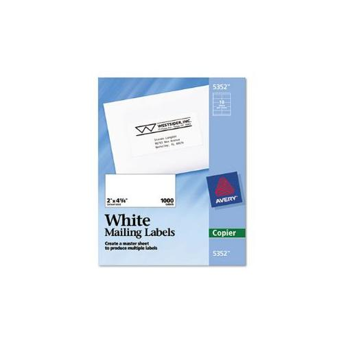 Self-Adhesive Shipping Labels for Copiers, 2 x 4-1/4, White, 1000/Box