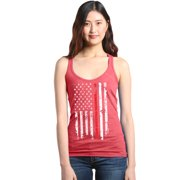 Shop4Ever Women's American Flag Red Line Patriotic 4th of July Racerback Tank Top