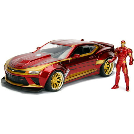 Marvel Iron Man & 2016 Chevy Camaro Die-cast Car, 1:24 Scale Vehicle &2.75 Collectible Metal Figurine