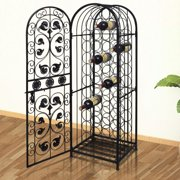 vidaXL Metal Wine Cabinet Rack Stand for 45 Bottles