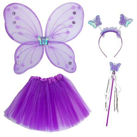 Lux Accessories Purple Fairy Skirt Butterfly Wing Fashion Headband Costume Set - Pretty Fairy Wings