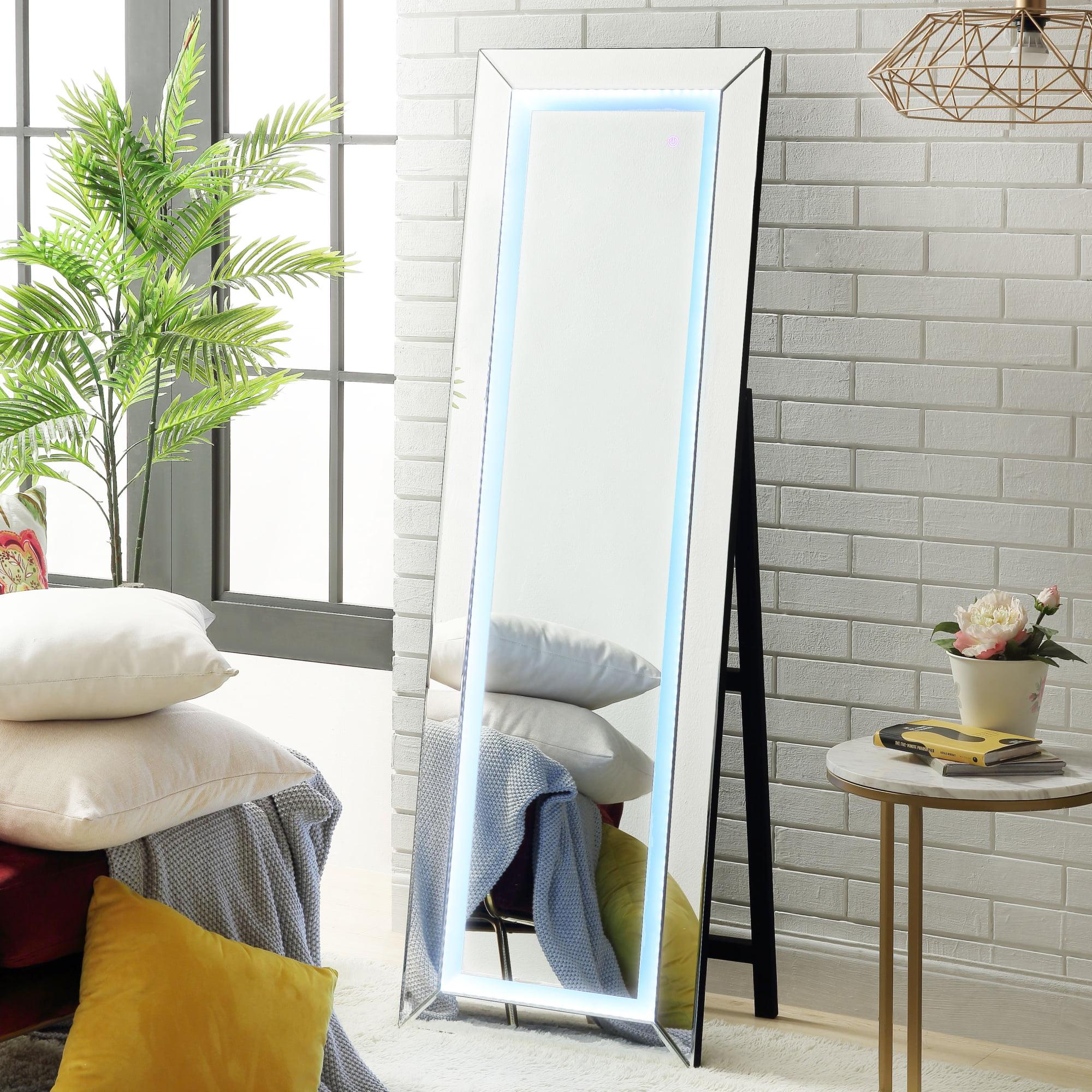Hana Led Full Length Mirror Floor Standing Touch Sensor Light Makeup Vanity Bedroom Mirrored Frame Foldable Walmart Com Walmart Com