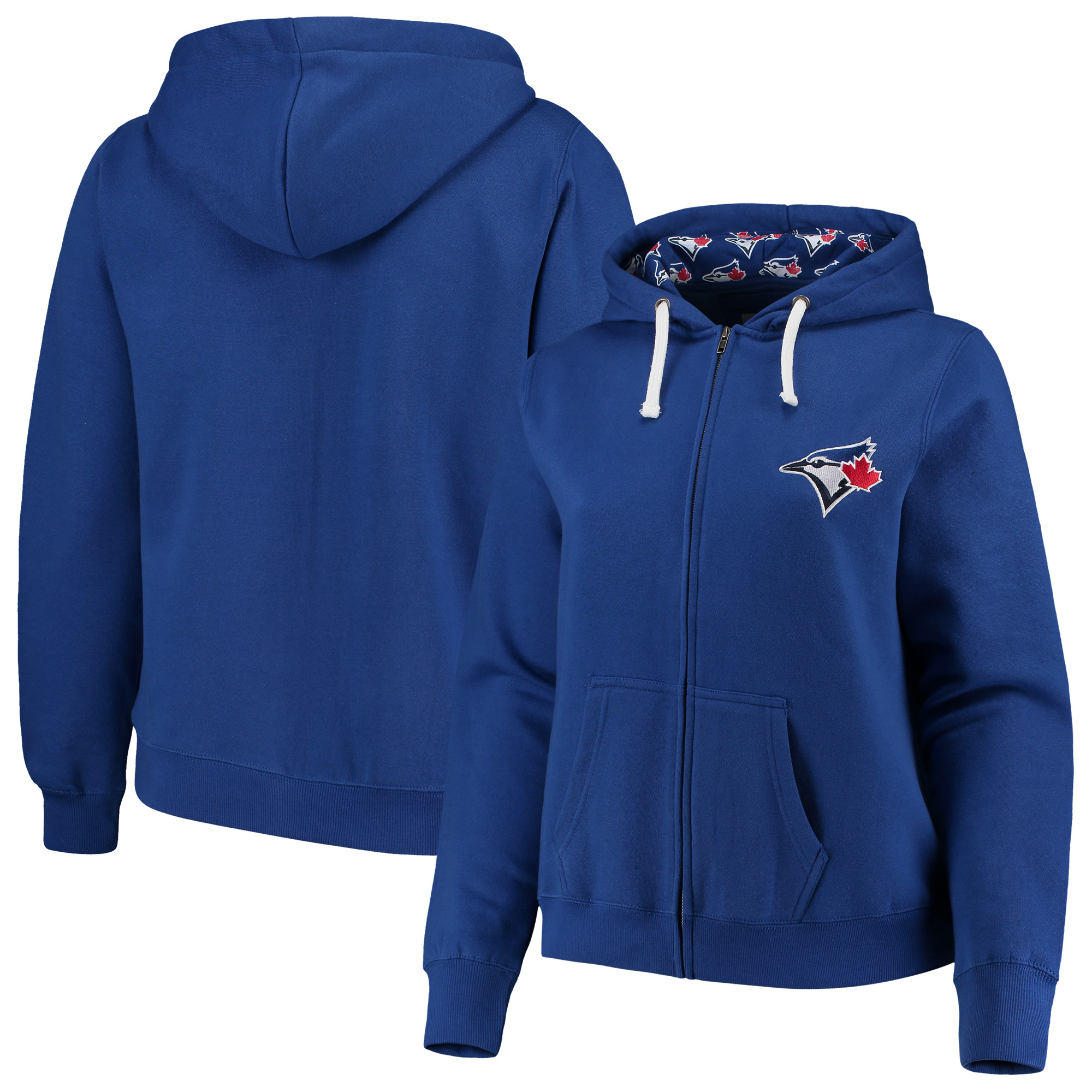 Toronto Blue Jays Soft as a Grape Women's Plus Size Pennant Race Full-Zip Hoodie - Royal
