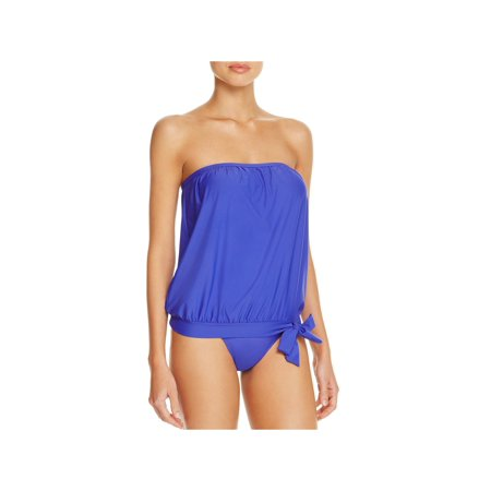 Athena Womens Solid Side Tie Swim Top Separates (Athena Top In Black)