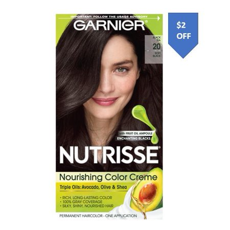 Garnier Nutrisse Nourishing Hair Color Creme (Blacks), 20 Soft Black (Black Tea), 1