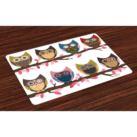 Owls Placemats Set of 4 Group of Owls Cute Facial Expressions Winking Smiling Vintage Scrapbooking Retro Art, Washable Fabric Place Mats for Dining Room Kitchen Table Decor,Multicolor, by Ambesonne - Scrapbook Table