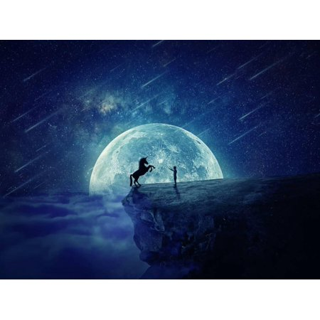 Night Scene with Boy Standing at Edge of Cliff Chasm Trying to Tame Wild Unicorn Print Wall Art By Bordeianu Andrei - Scene Boys