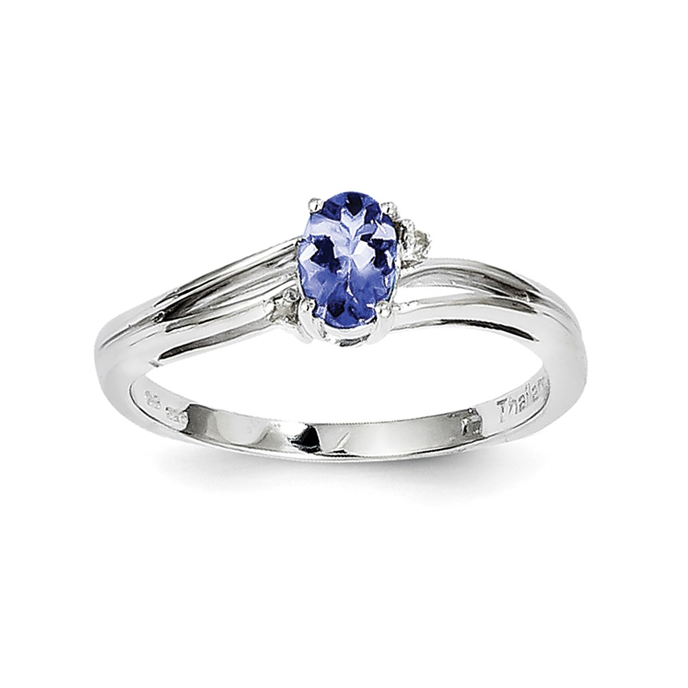 925 Sterling Silver (0.01cttw) Rhodium Plated Diamond and Tanzanite Oval Ring Size-6 by