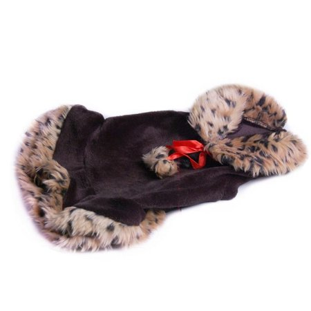 Brown Leopard Trim Dress Pet Clothes Apparel For Dog - Medium (Holiday Christmas Gift for Pet)