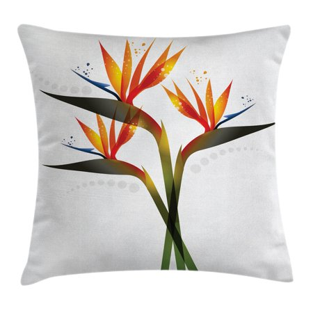 - Flower Decor Throw Pillow Cushion Cover, Ombre Colored Botanic Tropical Garden Plant with Abstract Dots Artwork, Decorative Square Accent Pillow Case, 16 X 16 Inches, Green and Orange, by Ambesonne