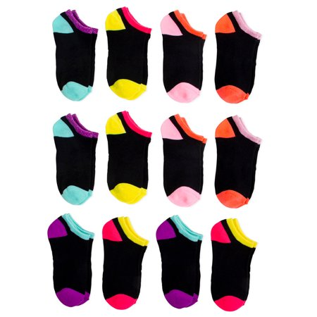 Wonder Nation No Show Socks, 12 Pairs (Little Girls & Big Girls) (Show Girl)