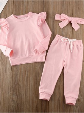 Toddler Baby Girl Solid Ruffle T-Shirt Leggings Pants Clothes Christmas Gift