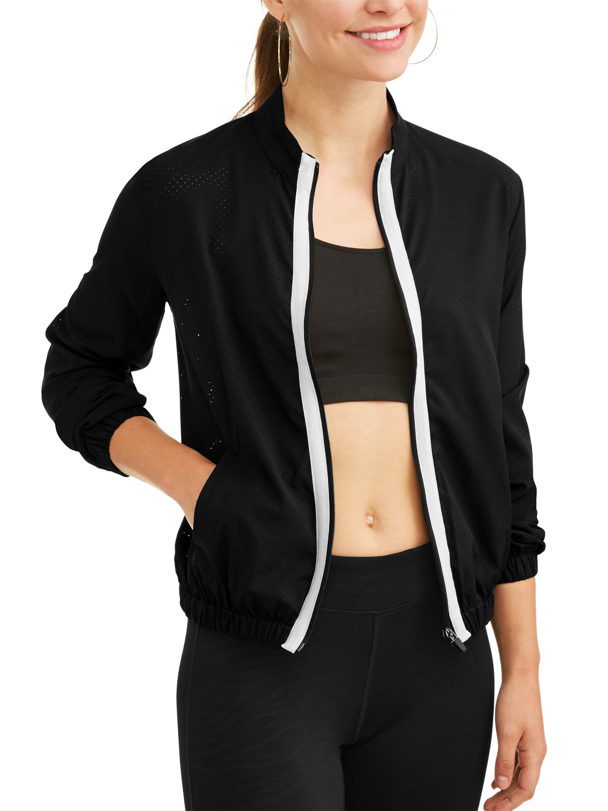 Dance 2Liv Women's Full Zip Mesh Bomber Jacket with Contrast Stripe